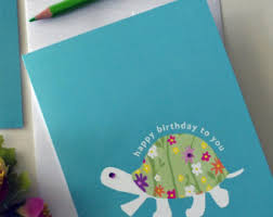 turtle birthday card etsy
