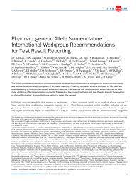 pharmacogenetic allele nomenclature international workgroup