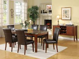 portland brown faux marble top dining table set lowest price