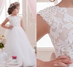 lace pearls off shoulder tulle flower dresses vintage child