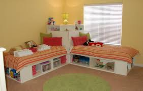 corner twin size bed frame with open storage and window blind also