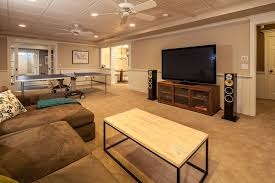 traditional basement with wainscoting u0026 carpet in redding ct