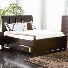 Full Size Bed With Storage Drawers Bedroom Dark Wooden Queen Size Bed With Dark Leather Headboard