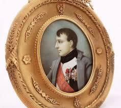 Gilt Bonze Enameled Portrait Napoleon Bonaparte Large Oval Miniature Portrait In Gilt