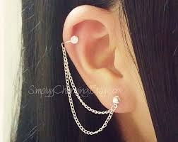 earrings with chain ear cartilage feather cartilage chain earring helix ear cuff jewelry simple