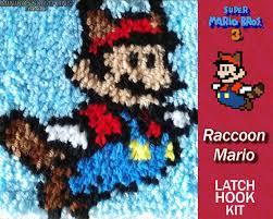 raccoon mario mario latch hook kit diy latch hook