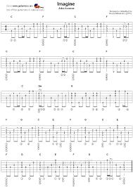 Picking Sheet Imagine Fingerstyle Guitar Tablature Finger Picking