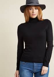 sweater in charter turtleneck sweater in black modcloth