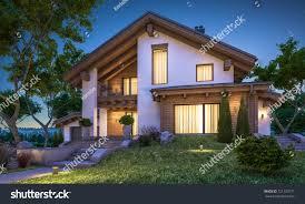 3d rendering modern cozy house chalet stock illustration 721129771