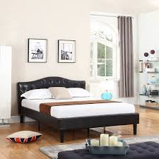 Curved Bed Frame Classic Deluxe Bonded Leather Low Profile Platform Bed
