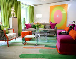 bright living room design withpink sofa grey sofa green curtain