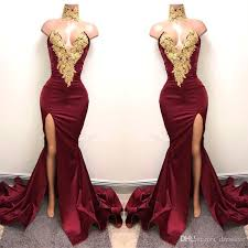 formal dresses 2018 new arabic burgundy prom dresses evening wear gold lace