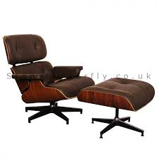 eames style lounge chair and ottoman rosewood u0026 brown leather