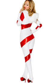 discount halloween costumes for women candy cane hooded catsuit holiday costumes holiday car costume
