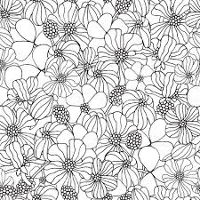 seamless floral pattern for coloring book with spring flowers