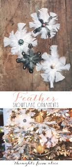 diy feather snowflake ornaments