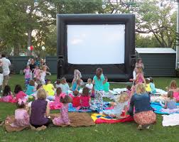 outdoor movie pajama birthday