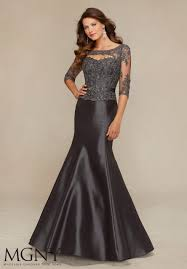 mgny by mori lee 71316 satin mermaid gown with lace french novelty