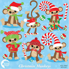 Christmas Decorations For Commercial Use by Christmas Monkey Clipart Card Design Clipart Candy Cane Clipart