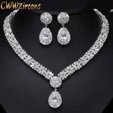 white gold crystal necklace images Cwwzircons white gold color luxury bridal cz crystal necklace and jpg
