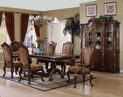 french country formal dining room upholstey roll back and seat