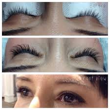 before and after a partial set of eyelash extensions yelp