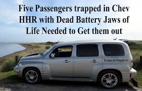 family trapped in chev hhr dead battery jaws of life needed to get
