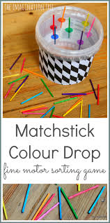 matchstick colour sorting fine motor toy drop gaming and