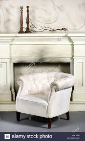 White Leather Tub Chairs Smoky Fireplace Binhminh Decoration