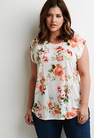 plus size forever 21 rose print cap sleeved tee plus size