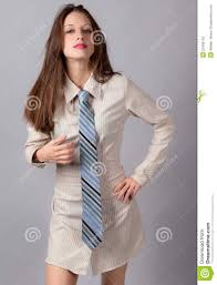 woman in shirt dress and tie stock photography image 23406102