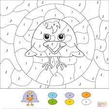 cute penguin color by number free printable coloring pages