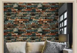 3d rustic brick slate look red charcoal wallpaper industrial shop