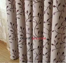 Leaf Pattern Curtains Exquisite Embroidered Leaf Pattern Gray Linen Country Curtains
