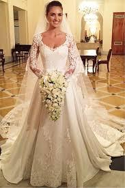 Long Sleeve Wedding Dresses Elegant Scoop Long Sleeve Wedding Dress With Lace Appliques