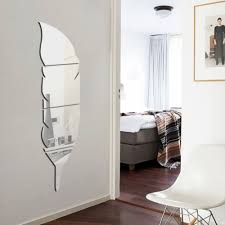diy 3d feather mirror wall stickers home decor wall dressing