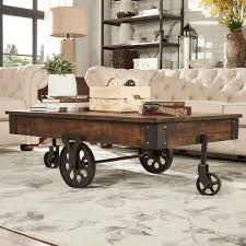 Rustic Coffee Table With Wheels Myra Vintage Industrial Modern Rustic 47 Inch Coffee Table By
