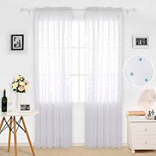 Curtain For Girls Room Amazon Com Deconovo Sheer Curtains Little Star Embroideried Voile