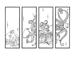 octopus diy bookmarks printable coloring page
