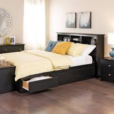 6 Drawer Bed Frame Bookcase Platform Storage Bed With Headboard In Black Bbx Xx00 Mkit
