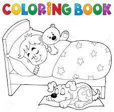 coloring book sleeping child theme 2 eps10 vector illustration
