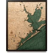Framed World Map by Houston Wood Map 3d Nautical Topographic Chart Framed Art