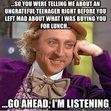 Teenager Meme - so you were telling me about an ungrateful teenager right before you