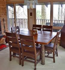 Hickory Dining Room Table by Hickory Log Dining Table Barnwood Dining Table For Cabin