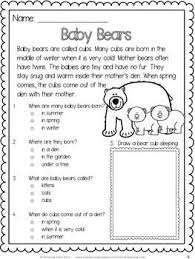baby bears free reading comprehension passage first grade