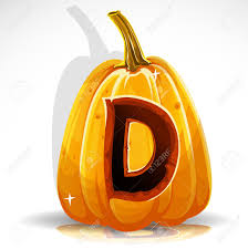 Happy Halloween Font Cut Out Pumpkin Letter D Royalty Free