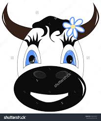 illustration of funny cow eating grass and flower on white save to