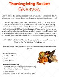 description of thanksgiving thanksgiving basket giveaway scattering resources
