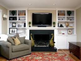 White Bookcase Ideas Fireplace With Sculpture Animals Plus Wall Tv Also Built In White