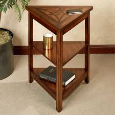 Table With Shelves Three Tiers Wood Triangle End Table With Shelves Of A Gallery Of